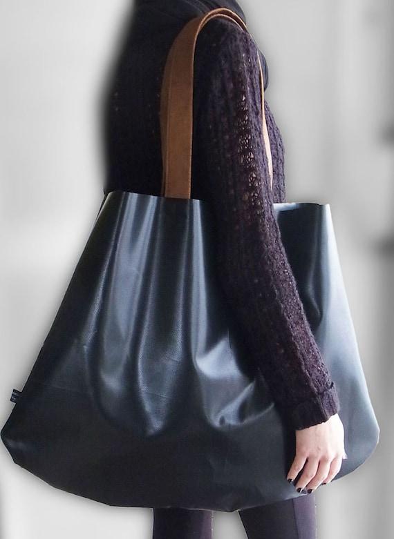 shopper tasche xxl aus lkw plane schwarz mit braunen. Black Bedroom Furniture Sets. Home Design Ideas