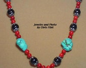 Attractive Turquiose, Coral,black and Hematite necklace - 22 inches