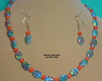 "So pretty - bright and beautiful Milliflori Glass 19"" necklace and matching earrings SET - S001"