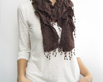 Brown knit fabric scarf, tricot scarf