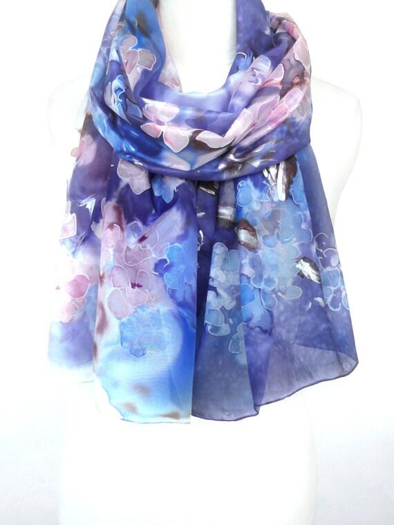 Midnight Blue Scarf. Hand Painted Silk Shawl. Echarpe Foulard. Iris Shawl. Almond Tree. Gift for Her. 18x71 in. (45x180 cm). Ready2Ship.