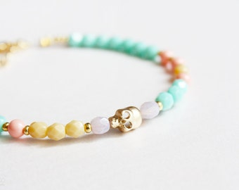 candy skull bracelet - color pop beaded friendship bracelet/dainty jewelry - gold, coral, mint and cream