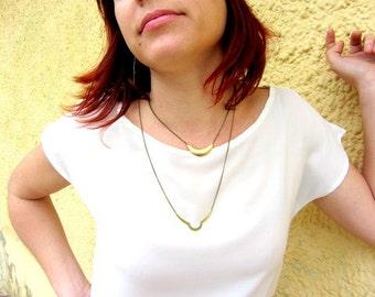 Geometric gold brass necklace. Geometric jewelry.