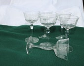 Etched daisy and dot sherry or claret stemware, hand blown crystal 6 at 25.00