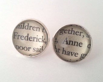 Jane Austen Persuasion Anne and Frederick Wentworth Stud Post Earrings