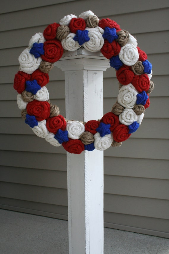 patriotic wreaths for front doorFourth of July Burlap Wreaths  Fourth Of July Wikii