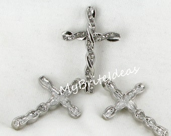 Twisted Silvertone Rhinestone  Sideways Cross Connector - Beads Jewelry Supplies Crafting Supplies Jewelry Making