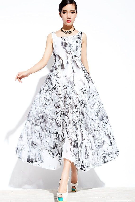 Black & White Chiffon Dress - Floral Sleeveless Lightweight Floaty Semi-Fitted Summer Party or Prom Dress  C085