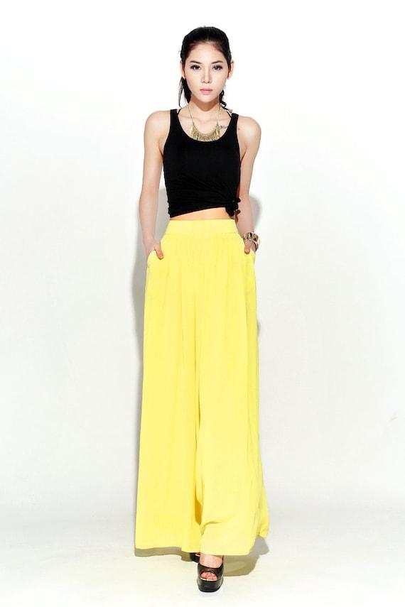 Yellow Chiffon Pants – Long Wide-Legged Lemon Smart Classic Style Palazzo Chiffon Pants  C116