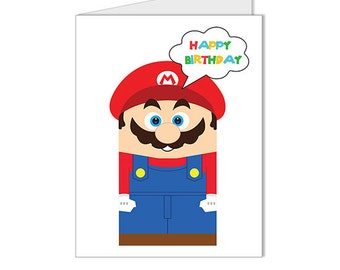 Get 10% OFF - Children Kid Happy Birthday Card - Nintendo Super Mario Video Game Superhero Custom Blank Card - Special 2016 SALE