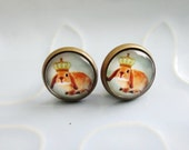 Round Stud Earrings - King of Cuteness Bunny Rabbit - cute woodland bunny antique bronze and glass stud earrings