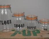 Antique Le Parfait Mason Jar Made in France V M C REIMS Canister Set Flour Coffee Tea Sugar