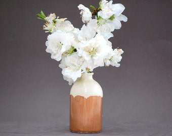 READY TO SHIP : Minimalist White and Copper Vase