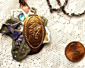 Disney Steampunk Inspired Handmade Princess Pocahontas John Smith Flit Copper Penny MOP Leaf Necklace Pendant