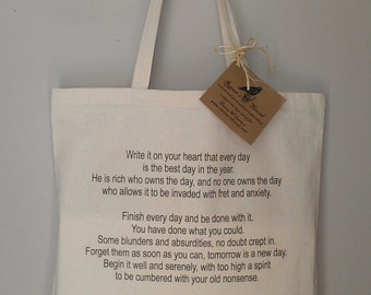 RALPH WALDO EMERSON Tote Bag Write It On Your Heart Quote poetry essay