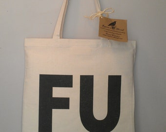 FU tote bag reycled cotton canvas eco friendly
