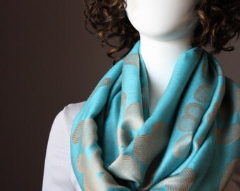 Pashmina scarf, infinity scarf, floral scarf,   leaf scarf, blue scarf