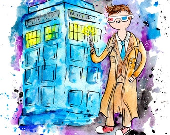 Doctor Who Print, 10th Doctor and Tardis Print David Tennant 8.5x11 inch inkjet print