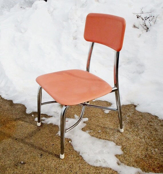 Vintage Pink And Chrome Heywood Wakefield Childs School Chair