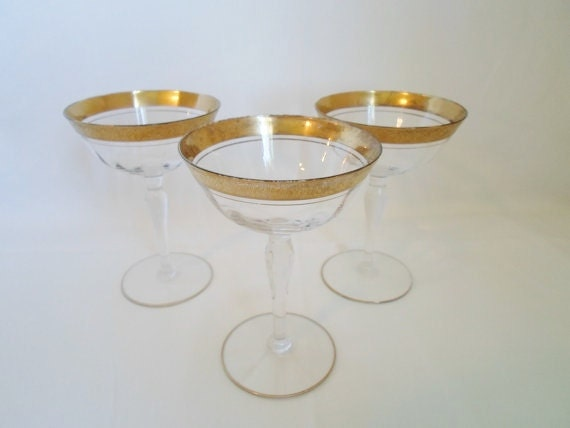 Vintage set of Three Fine Crystal Gold Band Wine Glasses  Crystal Stemware  Barware