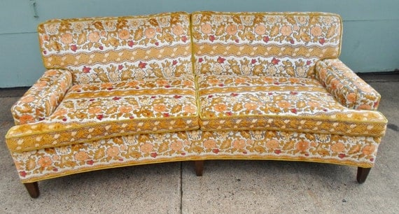 Vintage Conversation Sofa Couch Davenport Floral Tapestry