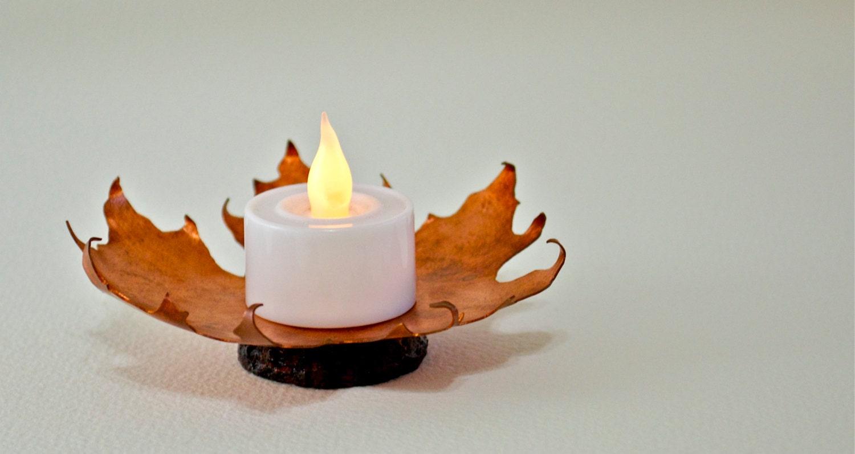 Autumn Leaf Copper Candle Holder Maple Leaf Candle Holder