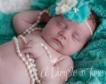Baby Headband, Infant Headband, Newborn Headband, Toddler Headband, Girls Headband -Shabby Chic Headband Turquoise and Ivory Tulle Flowers