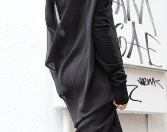 Black Loose Open Back Maxi Tunic Top / Chiffon Back Asymmetric Top A02029
