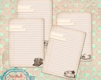 "Vintage Style Lined Paper Journalling Cards, Scrapbooking 3.7"" x 5.2"" Instant Digital Download"