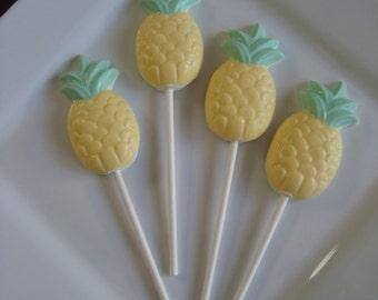 12 Chocolate Pineapple Lollipops Luau Tropical Beach Nautical Theme Wedding Birthday Party Favors Candy Sweets Fruit Hawaiian