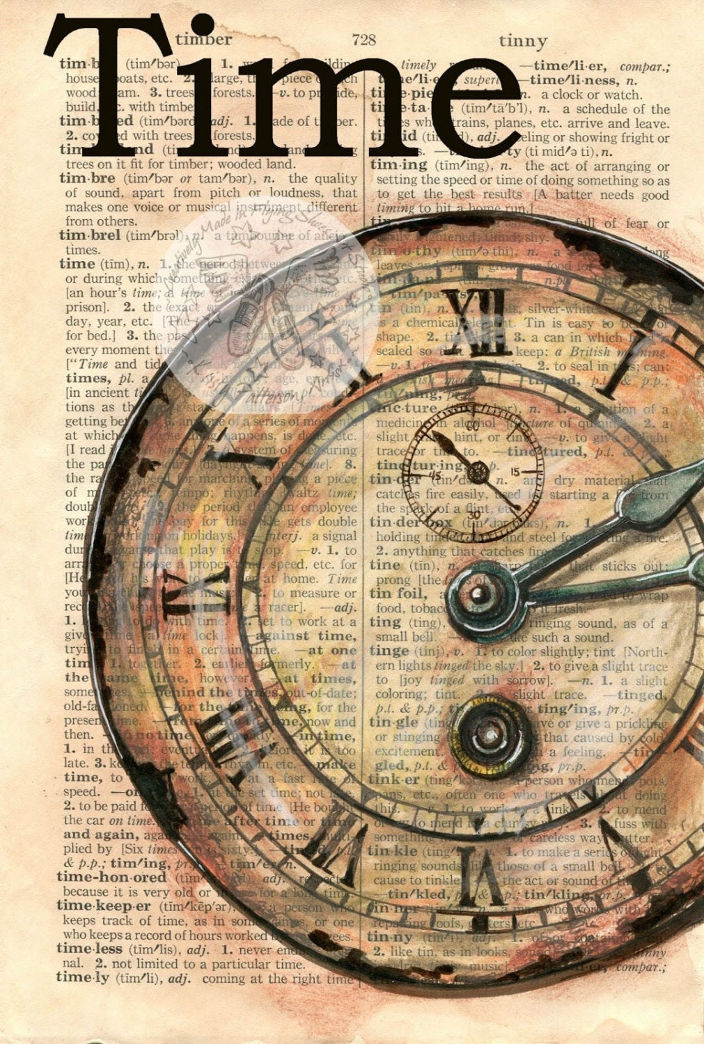 Print Clock Face Time Mixed Media Drawing On