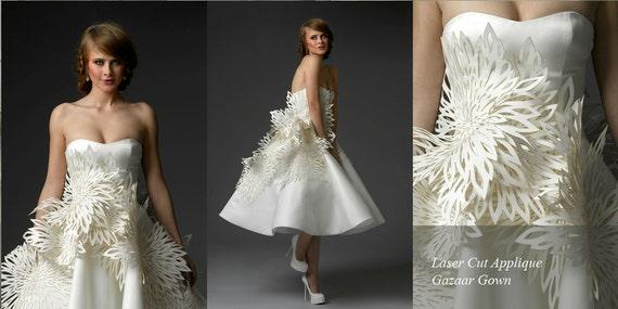 Irina Shabayeva Laser cut appliqué bridal ball gown.