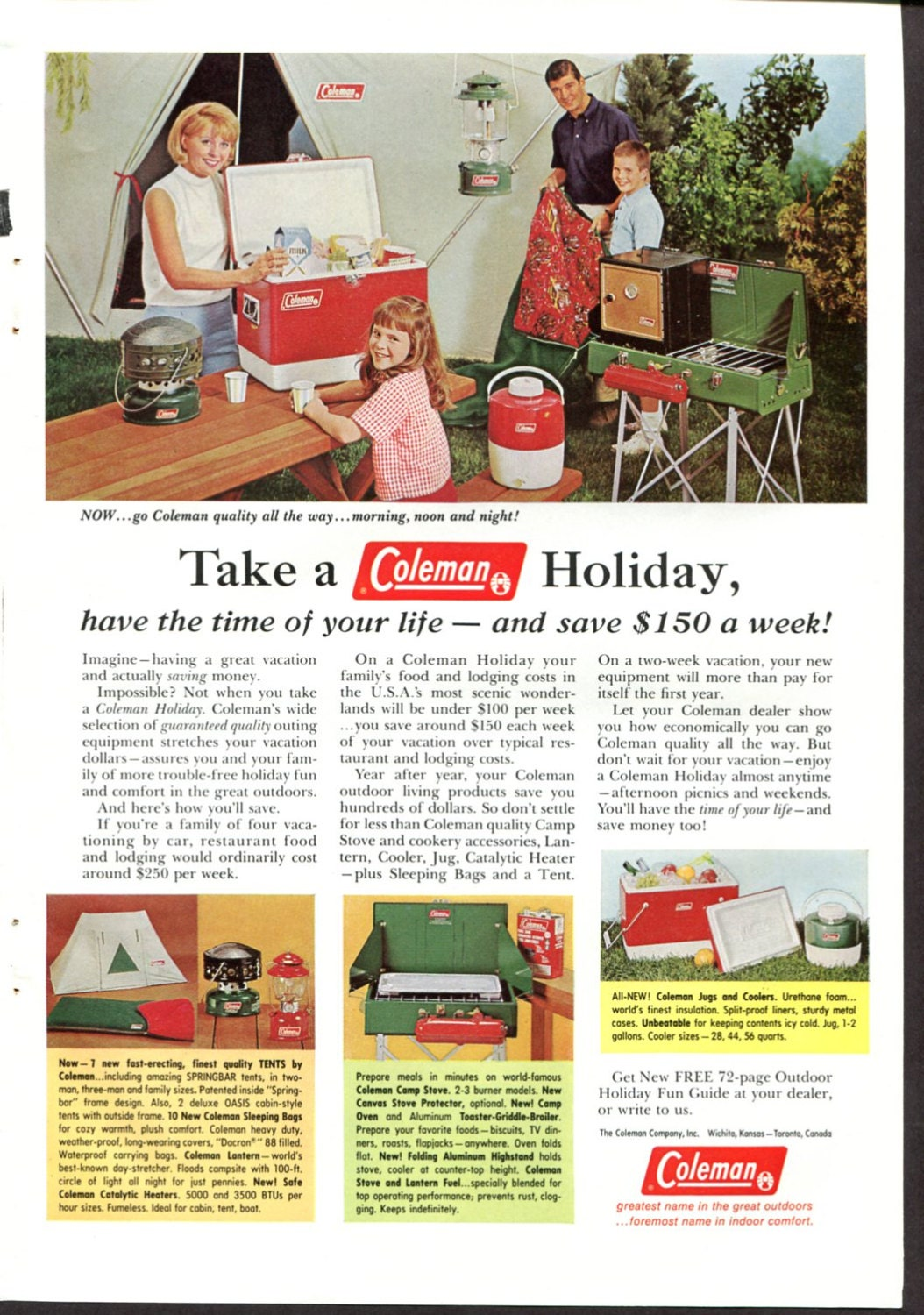 Coleman Ad Vintage Camping Equipment Happy Family Holiday