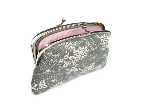 Pretty silver grey floral coin purse with 2 compartment section Metal Frame wallet and baby pink polka dots