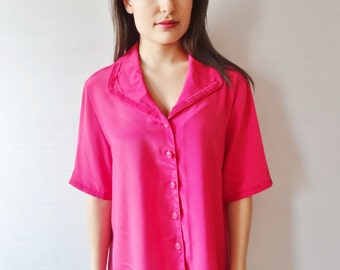 fuchsia pink 70's vintage retro draped shimmery blouse - medium - large