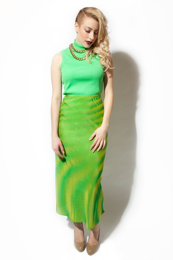 90s striped maxi skirt neon yellow lime green