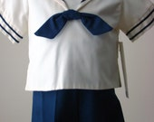 CLEARANCE Infant Boys Two - Piece Sailor Suit in Crème with Navy Suspender Shorts - size 18 months
