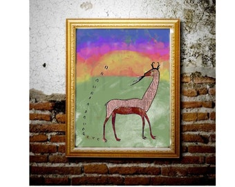 Oaxacan Antelope Printable Wall Art - Mexican Folk Art - Southwest Digital Painting