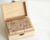 40 Pcs Korean Cat Stamps in Wooden Case - Rubber Stamps - Diary Stamps