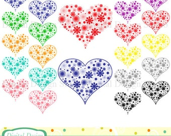 Flower Hearts clip art, 20 colourful designs. INSTANT DOWNLOAD for Personal and commercial use.