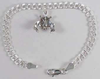 Sterling Silver Bat Charm on a Sterling Silver Traditional Double Link Traditional Charm Bracelet - 0715
