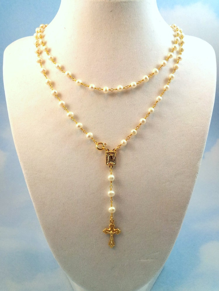 long pearl rosary necklace womens gold cross by. Black Bedroom Furniture Sets. Home Design Ideas