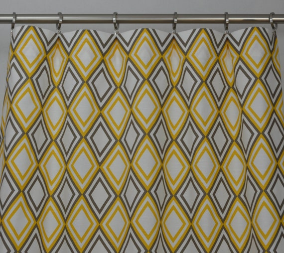 Items Similar To Yellow Brown White Annie Diamond Curtains Rod Pocket 84 96 108 Or 120 Long