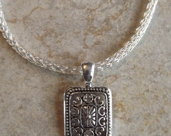 Silver Wire Viking Knit Woman's Necklace With Pendant Free Shipping To US And Canada