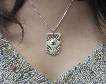 Japanese Akita Inu - sterling silver pendant and necklace.