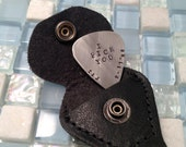 Hand stamped personalized guitar pick with leather case - great gift