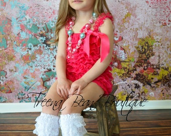 Hot Pink Vintage Lace Petti Romper - Newborn Outfit - Baby Girl - Toddler Outfit