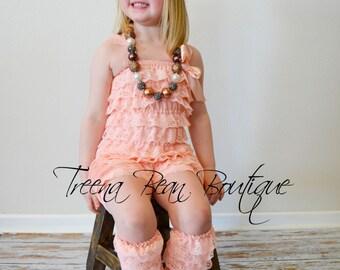 50% OFF Clearance SALE...Peach Ruffle Petti Vintage Lace Leg Warmers, Ruffle Lace leg warmers, leg warmers, Petti Leg warmers