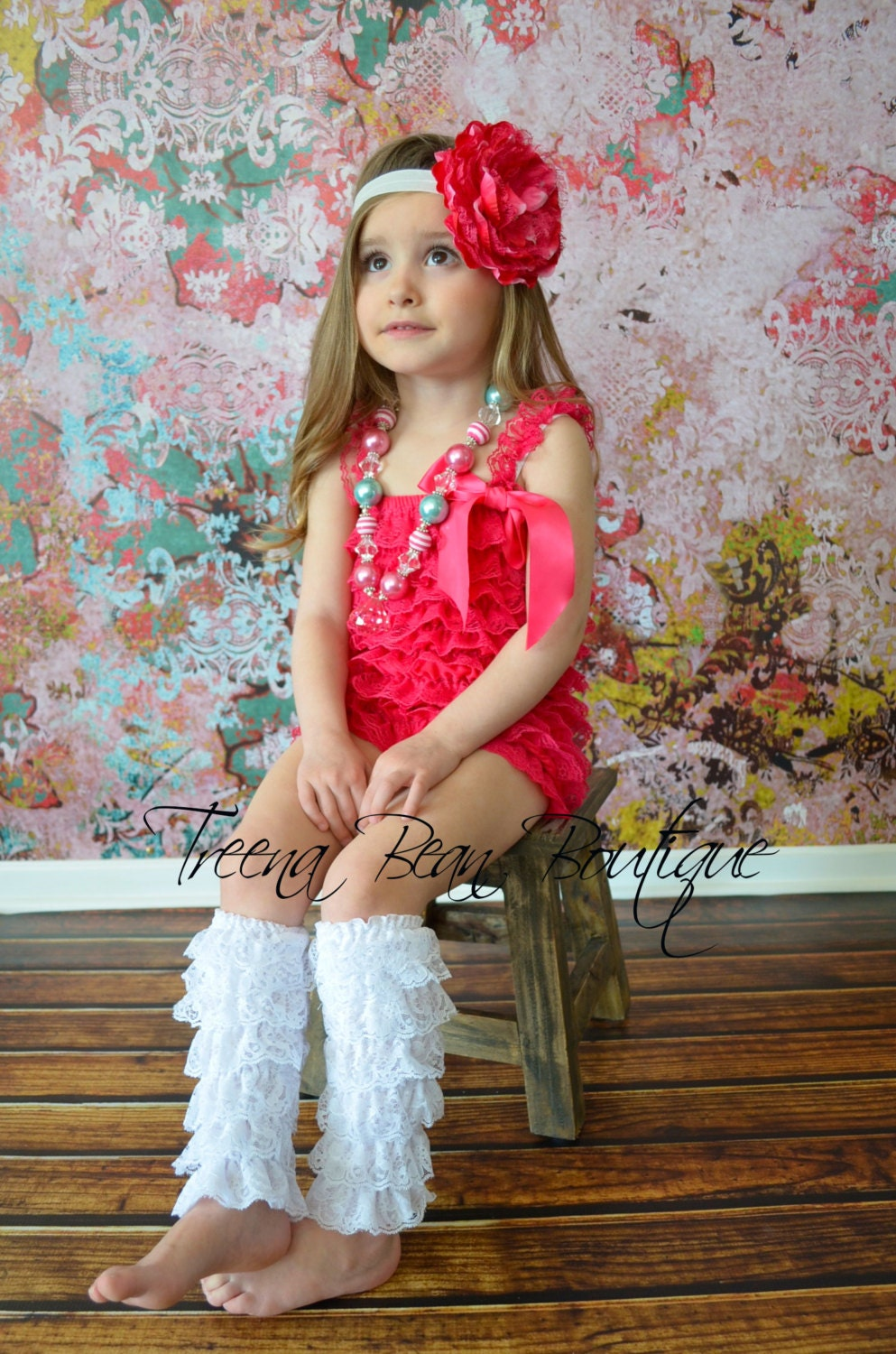 Hot Pink Vintage Lace Petti Romper Newborn Outfit Baby