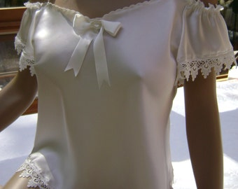 Camisole in Silk Natural White Charmeuse with Cream Lace and Hand Embroidery Trim